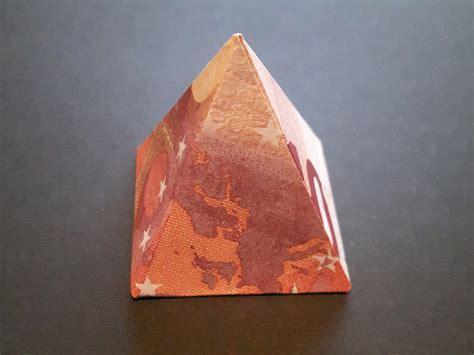 pyramide aus einem geldschein falten origami anleitung