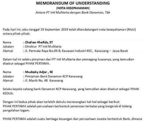 contoh memorandum  understanding mou kerjasama sekolah