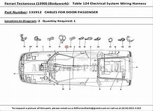 Ferrari Part Number 131912 Cables For Door Passenger