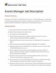 events manager job description With events manager job description template
