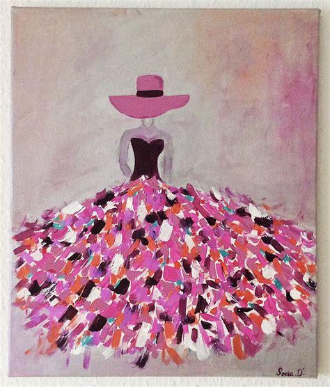 c est un tableau moderne qui repr 233 sente une femme dans une robe aux couleurs flamboyantes sur