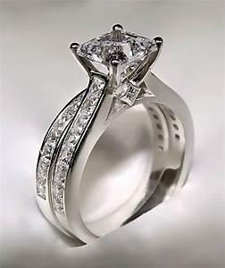 372ct princess cut engagement ring matching wedding With engagement rings with matching wedding bands