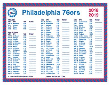 printable   philadelphia ers schedule