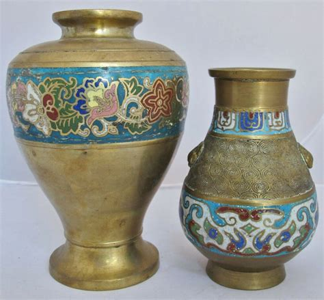 Pictures Of Antique Vases by 2 Antique Japanese Archaic Style Thick Brass Chleve