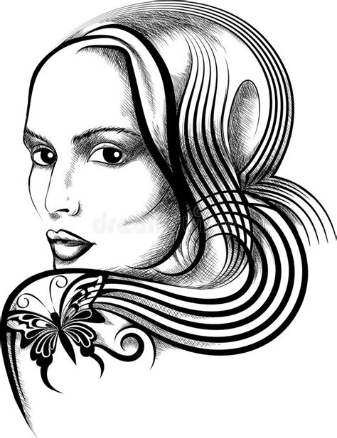 Woman With Butterfly Tattoo Stock Vector - Illustration of