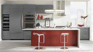 gray cabinets with a red kitchen island omega cabinetry With red and grey kitchen designs