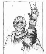 Jason Coloring Freddy Voorhees Horror Friday 13th Mrs sketch template