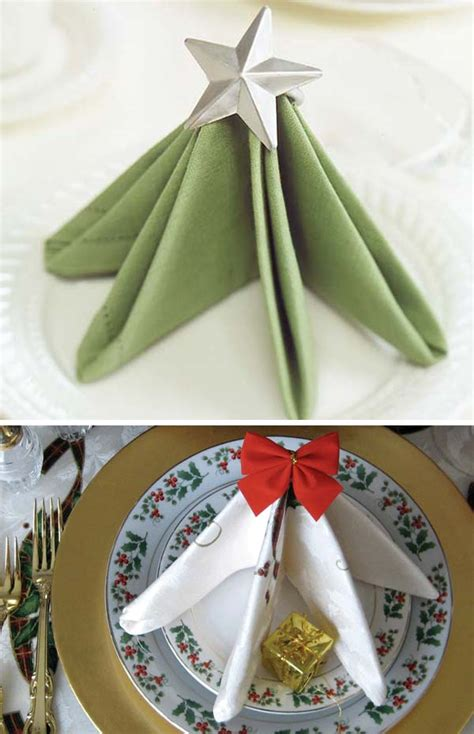 creative napkin ideas   christmas dining table