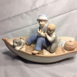 Solar Lights Outdoor Vintage Meico Porcelain Grandpa Boy Dog Fishing Boat