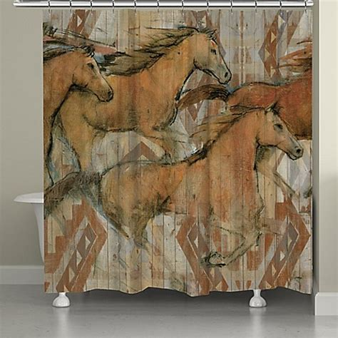 Laural Home® Southwestern Horses Shower Curtain   Bed Bath