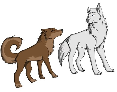 White Wolf And Brown Husky -commission2- By Kingtrashmouth