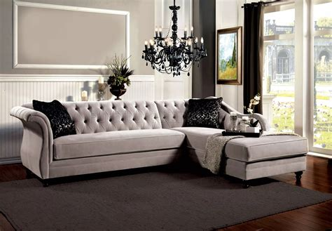 Rotterdam Sectional Sofa Sm2261 In Warm Gray Velvet Fabric