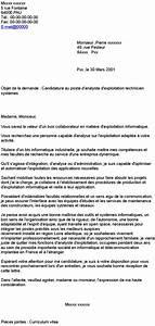 Je Souhaiterais Vous Rencontrer : candidature au poste d 39 analyste d 39 exploitation technicien syst mes ~ Medecine-chirurgie-esthetiques.com Avis de Voitures