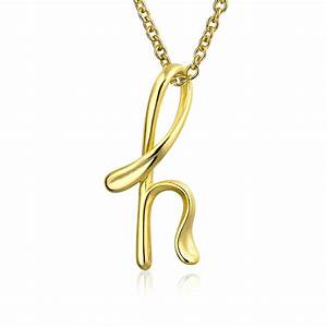 bling jewelry gold plated silver letter h script initial With letter h pendant necklace
