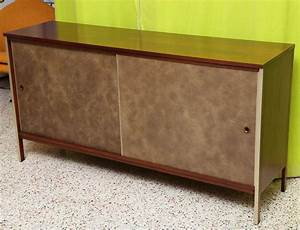 Paul McCobb Calvin Walnut Buffet With Top Cabinet At 1stdibs