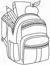 Backpack Clipart Illustration Bookbag Coloring Drawing Outlined Vector Getdrawings Clip Library Depositphotos Yayayoyo sketch template