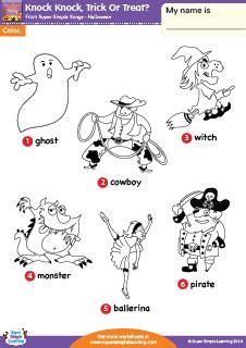 knock knock trick  treat halloween vocabulary