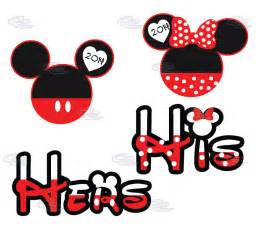 Mickey and Minnie Mouse Head Silhouette