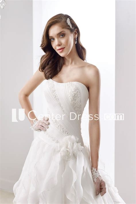 simple strapless   pleated gown  brush train