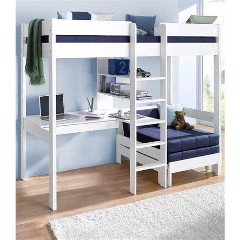 lit superposé avec bureau intégré conforama lit mezzanine avec plan de travail étagères blanc