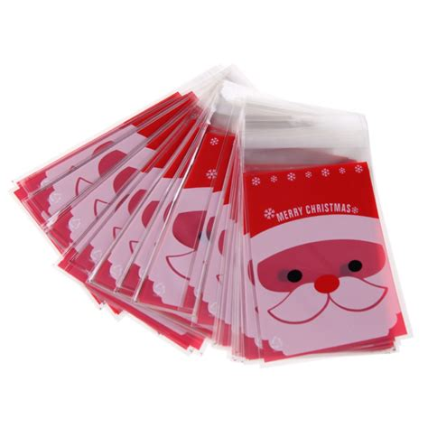 100pcs merry xmas santa cellophane cello bags fashion