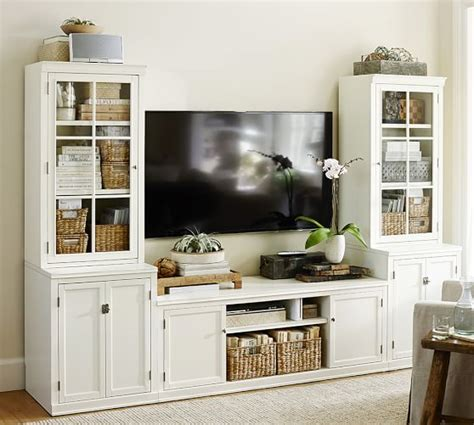 pottery barn media logan media suite with glass towers antique white