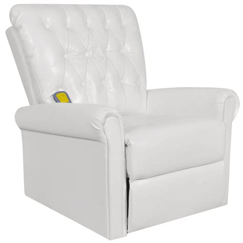white electric artificial leather recliner chair