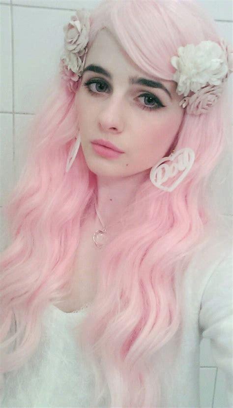 Pastel Pink Hair Darkblack Eyebrows Colored Hair