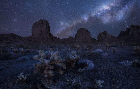 Wallpaper The Sky Stars Mountains Night Rocks Desert