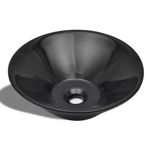 Uk Ceramic Bathroom Sink Basin Black Round