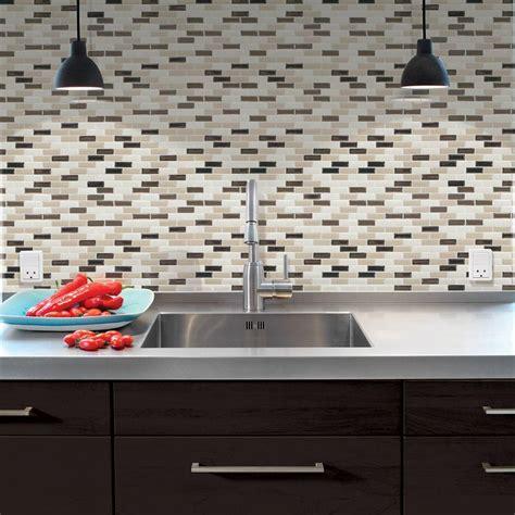 self adhesive kitchen backsplash tiles smart tiles 9 10 in x 10 20 in mosaic peel and stick