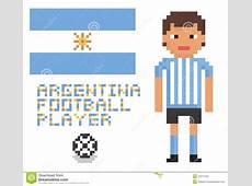 Pixel Art Soccer Or Football Argentina Player, Stock