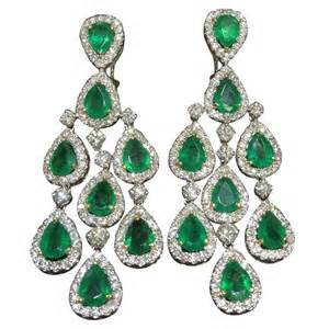 diamond cluster earrings classic emerald and diamond chandelier dangle earrings at