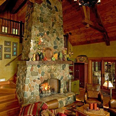 stairs  fireplace house stuff log cabin kitchens