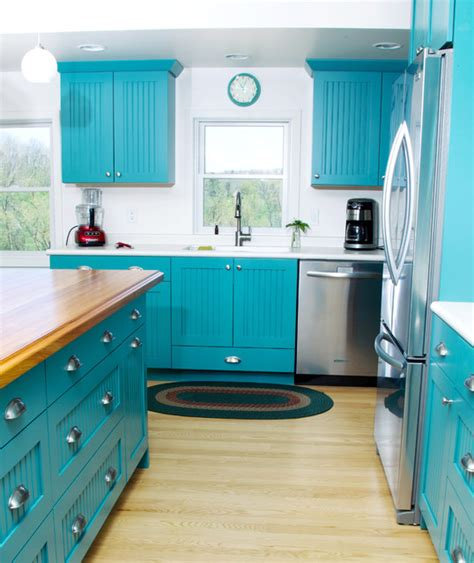 Teal Green Kitchen Cabinets by Bold And Blue Cottage Kitchen Eclectic Kitchen
