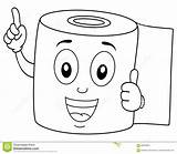 Toilet Paper Coloring Happy Smiling Cartoon Funny Character Colouring Illustration Vector Dreamstime Isolated Background sketch template