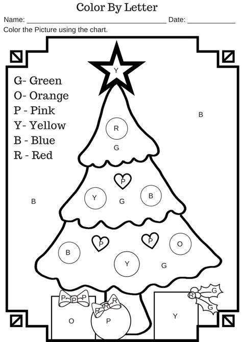 color by letter tree free printable worksheet