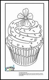 Cupcake Coloring Pages Cupcakes Sheets Printable Colouring Hard Template Flower Sprinkles Cute Detailed Food Birthday Getcoloringpages Violet Purple Coloring99 Zentangle sketch template