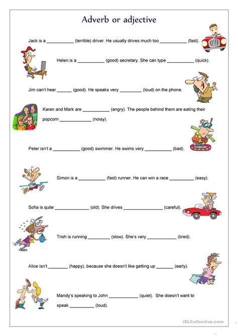adverb  adjective worksheet  esl printable