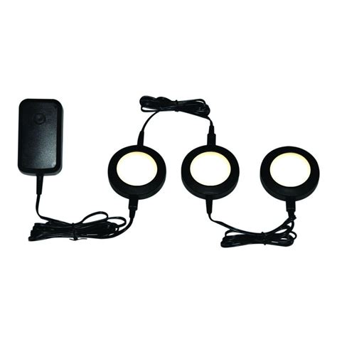Commercial Electric Black Led Dimmable Puck Light Kit