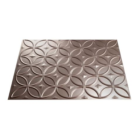 Fasade 18in X 24in Rings Brushed Nickel Backsplash Panel