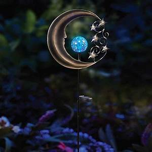solar moon garden light stake in silver blue bed bath With outdoor patio lights bed bath and beyond
