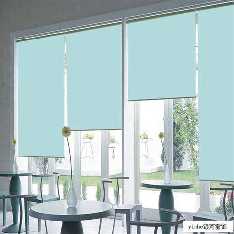 office of solid roll curtain blinds custom finished