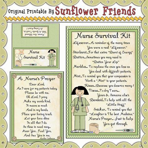 nurse survival kit sunflower friends clipart