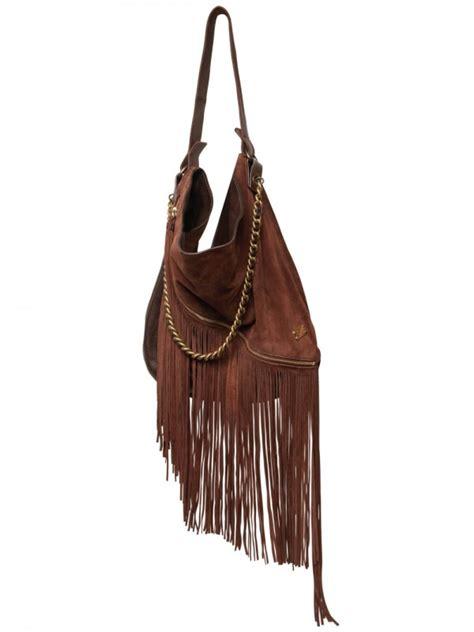 lyst dsquared suede leather fringed shoulder bag  brown