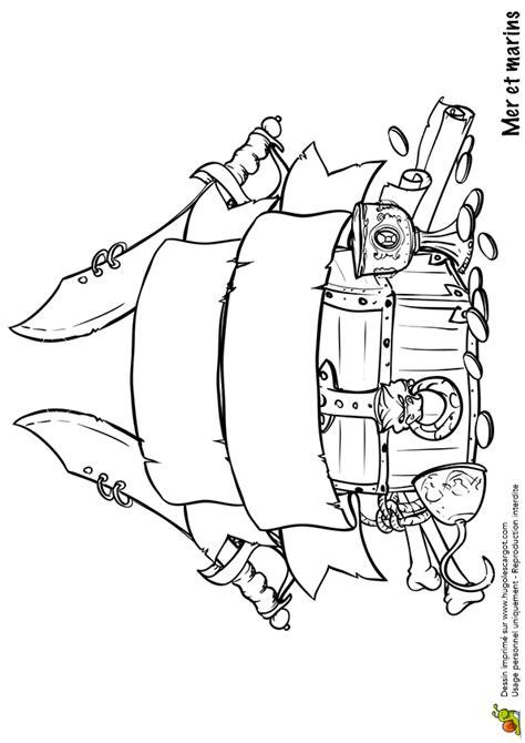 coloriage mer et marin coffre de pirate sur hugolescargot