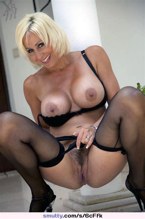 Blondemilf Bigboobs Titsout Stockings Heels Pussy Smiling Milfspread Blonde Milf