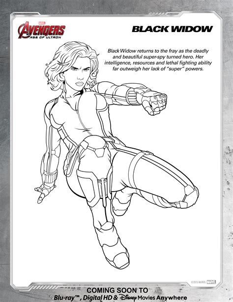 avengers black widow coloring page disney movies