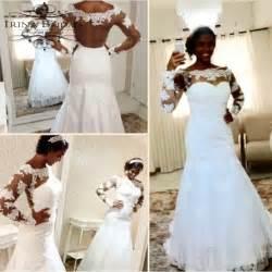 black sleeve wedding dresses black color bridal the shoulder lace appliqued transparent back sleeve mermaid