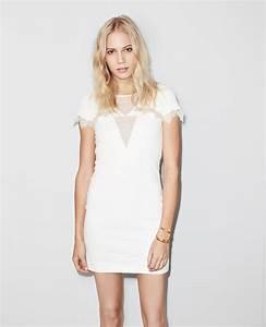 robe droite en maille stretch a plastron en dentelle With robe droite blanche